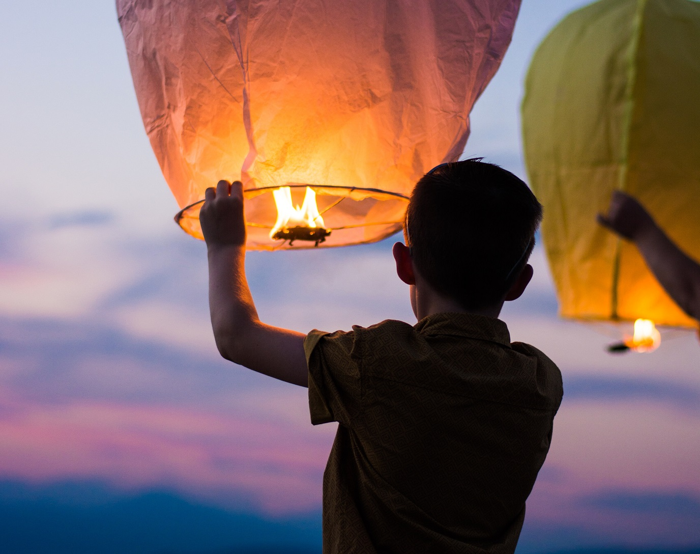 happy kid with paper lantern